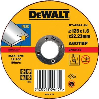 Disque à tronçonner l'inox 125 mm x 1,6 mm x 22,2 mm - Dewalt | DT42341