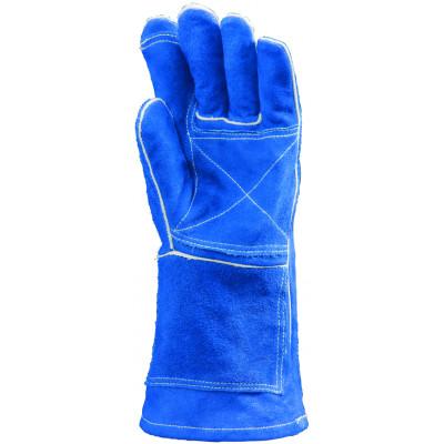 Gants de soudeur Kevlar bleu renfort paume/index - manchette en croûte de 15 cm - Eurotechnique | 2636