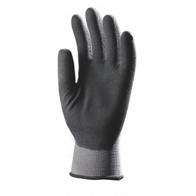 Gants nylon gris dos aéré enduit en micro mousse latex noir Eurotechnique | 6330