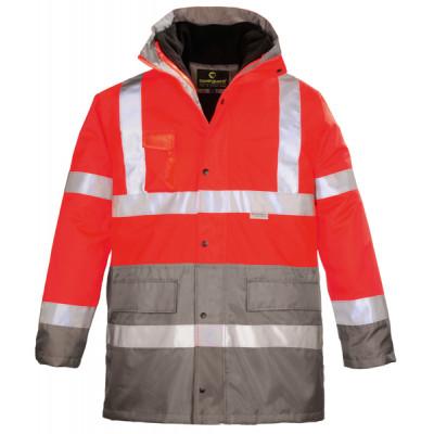 Parka polyester 4 en 1 HI WAY Hi-Viz - rouge / gris - Coverguard | 70599