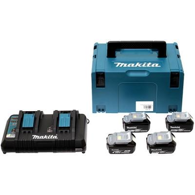 Makita 197503-4 Pack Énergie 18 V Li-Ion (4 batteries + 1 chargeur double) avec coffret MAK-PAC