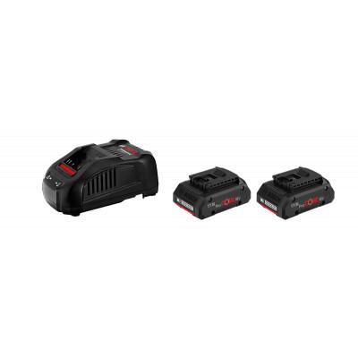 1600A00B8J Chargeur Bosch Kit de départ : 2 x GBA 18 V 5.0 Ah + GAL 1880 CV Professional outils Bosch Bleu