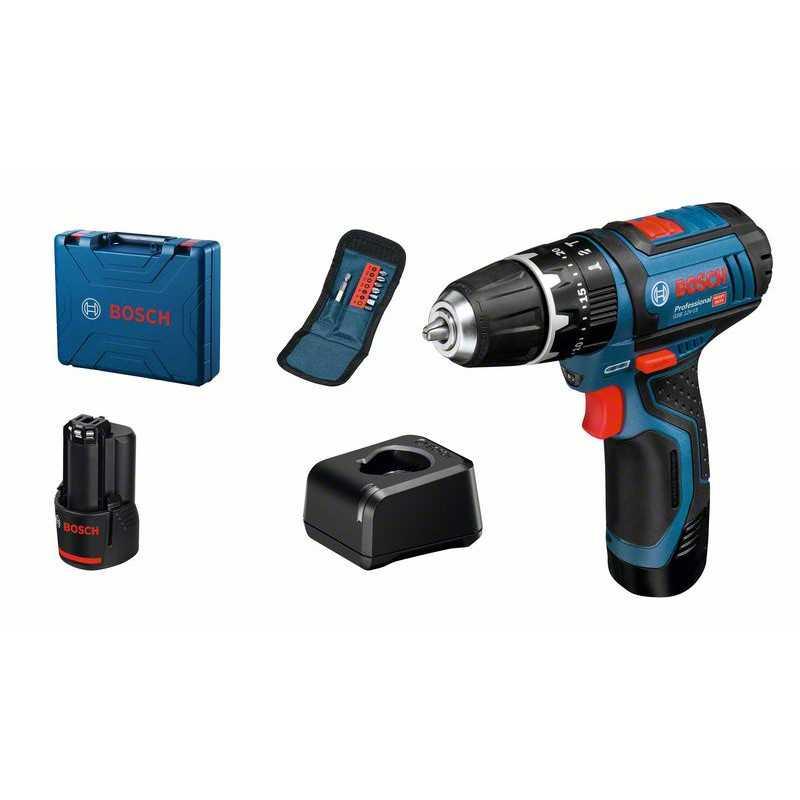 Perceuse à percussion sans fil Bosch Professional GSB 12V-15 + 10 accessoires + 2x GBA 12V 2,0Ah +GAL 12V-20 BOSCH | 06019B690J