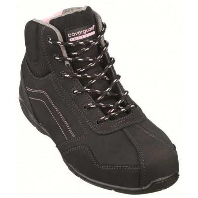 Chaussures de sécurité haute RUBIS High S3 - composite nubuck noir et coutures rose - Coverguard   9RUBH