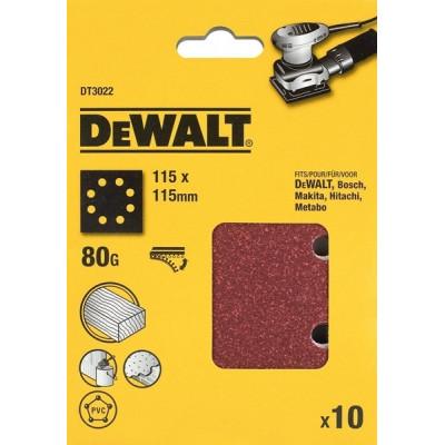 25 feuilles abrasives 1/4 pour ponceuses vibrantes - 115 x 115 mm - grain 40 - DEWALT | DT3030