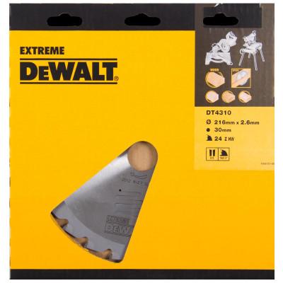 Lame pour scies circulaires stationnaires Extreme - diamètre 216 x 30 mm - 24 dents - Dewalt | DT4310